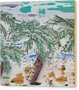 Surf and Palms Wood Print
