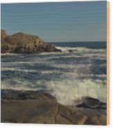Surf At Nubble Light Wood Print