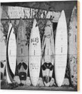 Surf Board Fence Maui Hawaii Square Format Wood Print
