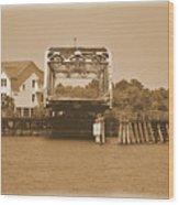 Surf City Vintage Swing Bridge In Sepia 1 Wood Print