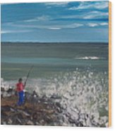 Surf Fishin Wood Print