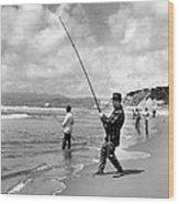 Surf Fishing At Ocean Beach Wood Print
