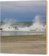 Surf Hitting Rocks 2 Wood Print