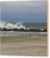 Surf Hitting Rocks 3 Wood Print