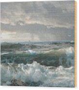 Surf On The Rocks Wood Print