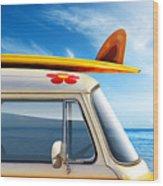 Surf Van Wood Print by Carlos Caetano