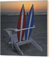 Surfboard Chair Sunset Wood Print