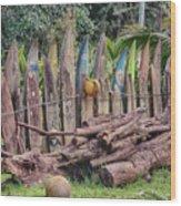 Surfboard Fence Hawaii Wood Print