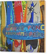 Surfboard Fence-the Amazing Race  Wood Print