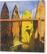Surfboard Garden Wood Print by Ron Regalado