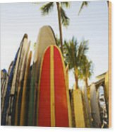 Surfboards At Waikiki Wood Print
