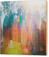Surfboards Sun Flare Wood Print by Monica and Michael Sweet