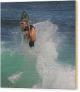Surfer Action Hawaii Wood Print