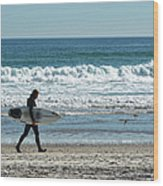 Surfer And His Board Wood Print