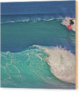 Surfer At Aneaho'omalu Bay Wood Print