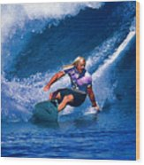 Surfer Dude Catching A Wave Wood Print