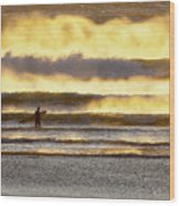 Surfer Faces Wind And Waves, Morro Bay, Ca Wood Print