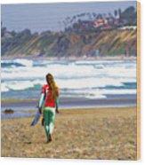 Surfer Girl At Seaside, Ca Wood Print
