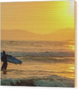 Surfer In The Golden Ocean Wood Print