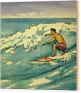 Surfer In The Sky Wood Print