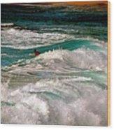 Surfer On Surf, Sunset Beach Wood Print