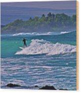 Surfer Rides The Outside Break Wood Print