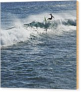 Surfer Riding A Wave Wood Print by Brandon Tabiolo - Printscapes