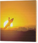 Surfer Silhouetted At Sun Wood Print