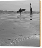 Surfer Silhouettes Wood Print