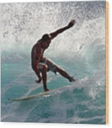 Surfer Slashing The Blue Waves At Dumps Maui Hawaii Wood Print by Pierre Leclerc Photography