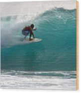 Surfer Surfing In The Tube Of Blue Waves At Dumps Maui Hawaii Wood Print