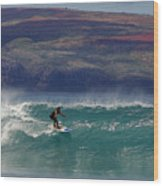 Surfer Surfing The Blue Waves At Dumps Maui Hawaii Wood Print