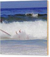 Surfers At Asilomar State Beach Three Oopsy Daisy Wood Print