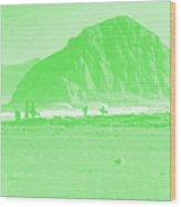 Surfers On Morro Rock Beach In Green Wood Print