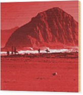 Surfers On Morro Rock Beach In Red Wood Print