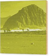 Surfers On Morro Rock Beach In Yellow Wood Print