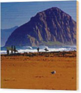 Surfers On Morro Rock Beach Wood Print