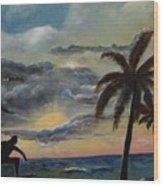 Surfers Sunset Wood Print