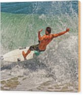 Surfing Action  Wood Print