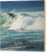 Surfing Asilomar Two Wood Print