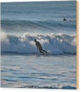 Surfing At Hampton Nh Wood Print