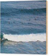 Surfing At Honolua Bay Wood Print