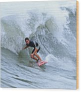 Surfing Bogue Banks 3 Wood Print