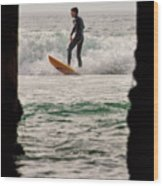 Surfing By The Pier Wood Print