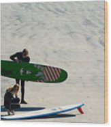 Surfing Couple Wood Print