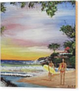 Surfing In Rincon Wood Print