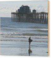 Surfing In San Clemente Wood Print by John Loyd Rushing