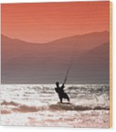 Surfing Into The Sunset Wood Print