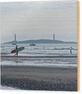 Surfing On Good Harbor Beach Gloucester Ma Wood Print