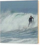 Surfing On The Oregon Coast Wood Print